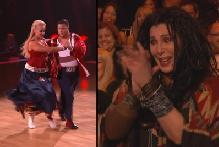 Chaz Bono and Lacey Schwimmer compete on 'Dancing with the Stars' (left) and Cher cheers them on (right), Oct. 10, 2011 -- ABC