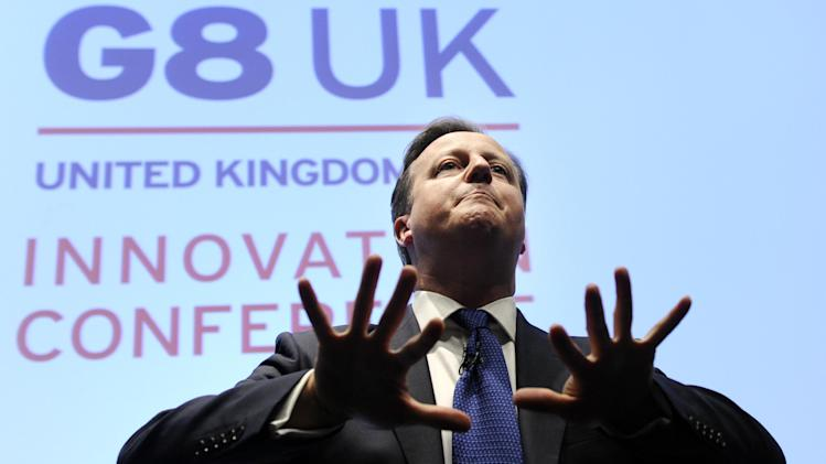 Britain's Prime Minister David Cameron speaks at the G8 UK Innovation Conference at the Siemens Crystal Building in London, Friday June 14, 2013. As part of UK's G8 Presidency, the G8 Innovation Conference brings together 300 leading international entrepreneurs, researchers, scientists, designers and policy makers. (AP Photo/Facundo Arrizabalaga, Pool)