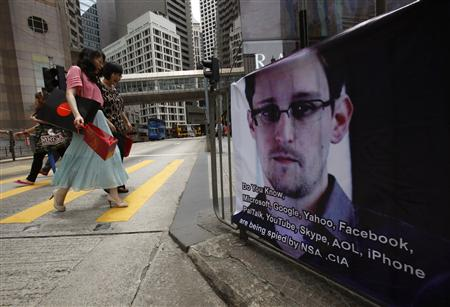 A poster supporting Edward Snowden is displayed in Hong Kong