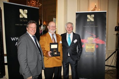 Fragrance Du Bois and Asia Plantation Capital Chief Executive Officer, Gary Crates, with the winner of the Price Prediction Game, Mr Khaled Diab and A...