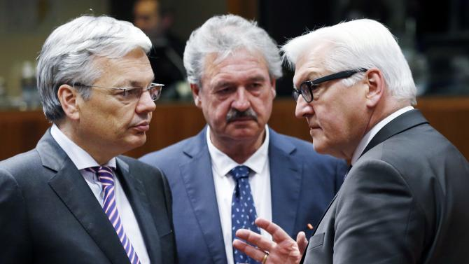 Belgian Foreign Minister Reynders, Luxembourg counterpart Asselborn and German counterpart Steinmeier attend an extraordinary EU foreign ministers meeting in Brussels