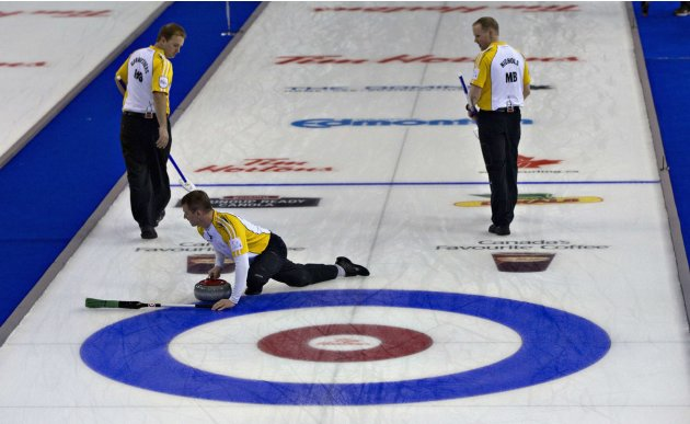 Manitoba skip Stoughton  performs a complete circle while delivering his last rock during the gold medal game at the Canadian Men's Curling Championshipsin Edmonton