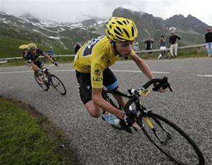 Froome of Britain cycles during the 204.5 km stage of the centenary Tour de France cycling race from Bourg d'Oisans to Le Grand Bornand
