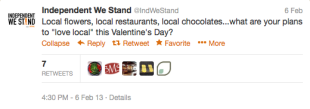 Why a Local Organization Should Be Your Valentine This Year image Independent We Stand Tweet