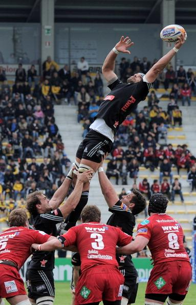 Marco Bortolami of Aironi wins the line out ball during the RaboDirect Pro 12 match between Aironi Rugby and Llanelli Scarlets at Stadio Luigi Zaffanella on April 15, 2012 in Viadana, Italy. (Photo by