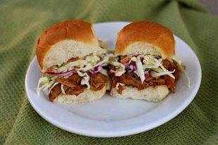 Pulled pork sliders on sweet Hawaiian rolls