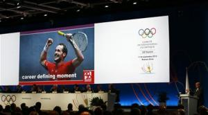 President of the World Squash Federation (WSF) Narayana Ramachandran speaks during the presentation of squash to be included as an Olympic sport in Buenos Aires