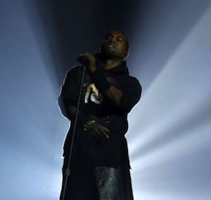 Kanye West Won the 12.12.12 Concert -- With a Leather Skirt