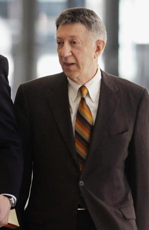 FILE - In this April 16, 2009 file photo, Springfield, Ill., powerbroker William Cellini leaves federal court in Chicago. Jury selection is scheduled to begin Monday, Oct. 3, 2011, for Cellini, 76, who is charged with conspiring to shake down a Hollywood producer for a $1.5 million contribution to then Gov. Rod Blagojevich's campaign. It is the last major trial stemming from a nearly decade-long investigation of the former governor. (AP Photo/M. Spencer Green, File)
