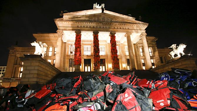 Life jackets left by migrants on Greek beaches are pictured at the Schauspielhaus concert hall as part of a temporary memorial project by Chinese artist Ai Weiwei in Berlin