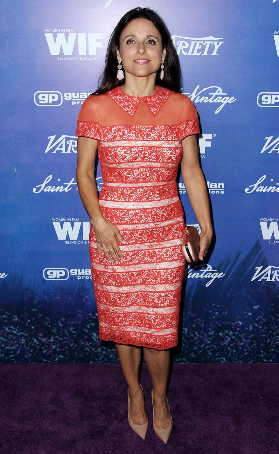 Julia Louis-Dreyfus attends the Variety and Women in Film Pre-Emmy Event at Scarpetta on Friday, Sept. 21, 2012, in Beverly Hills, Calif. (Photo by Matt Sayles/Invision/AP)