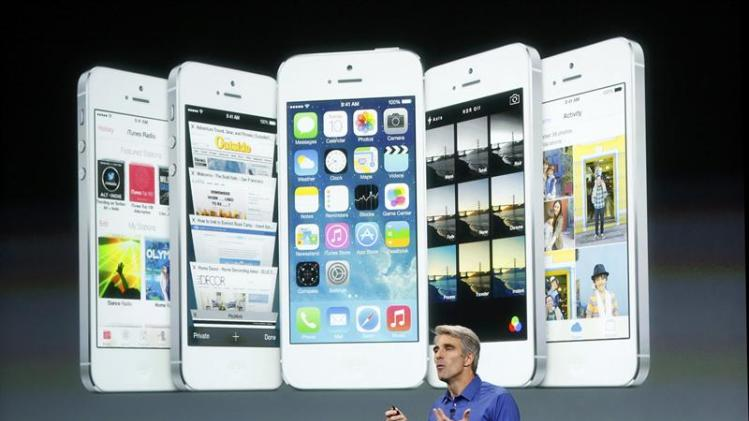 Craig Federighi, Senior VP of Software Engineering at Apple Inc speaks during Apple Inc's media event in Cupertino