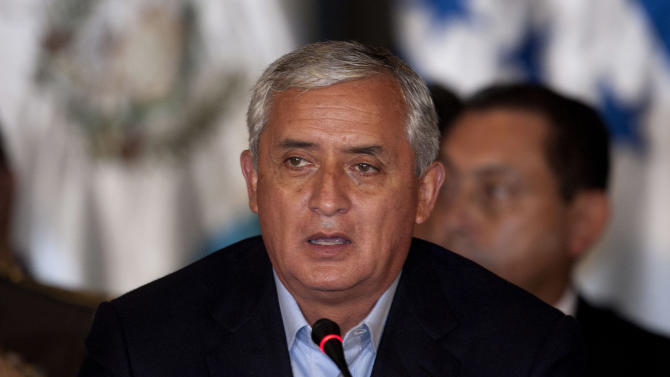 Guatemala's President Otto Perez Molina speaks during a presidential summit with Central American leaders in Antigua, Guatemala, Saturday March 24, 2012. Presidents from Central America are meeting ahead of the Summit of the Americas in Cartagena, Colombia in April. (AP Photo/Moises Castillo)