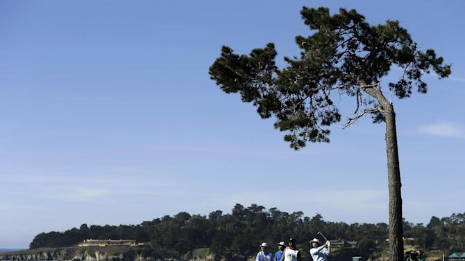 Brandt Snedeker hits off the fifth tee of the Pebble Beach Golf Course during the final round of the AT&T Pebble Beach Pro-Am golf tournament, Sunday, Feb. 10, 2013, in Pebble Beach, Calif. Snedeker won the tournament. (AP Photo/Ben Margot)