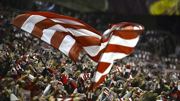 Athletic Bilbao's supporters celebrate at San Mames stadium (Reuters)