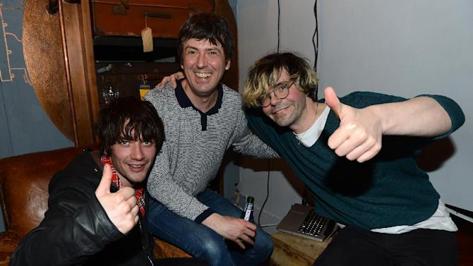 IMAGE DISTRIBUTED FOR THE HUFFINGTON POST UK - From left, Kieren Webster, Mark Collins and Tim Burgess seen at a HuffPost UK event at Espresso Bar Mozzino, on Monday, Dec. 10, 2012, in London. Part of celebrations for a new initiative from the Huffington Post UK whereby they will be providing free Wi-Fi to independent coffee shops,  (Photo by Jon Furniss/Invision for The Huffington Post UK/AP Images)
