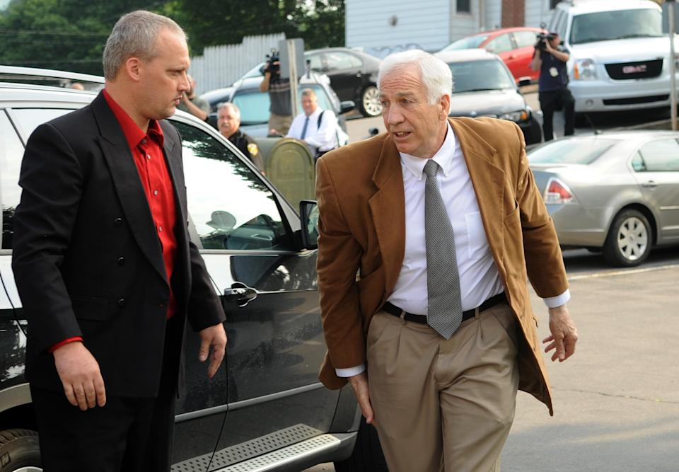Former Penn State University assistant football coach Jerry Sandusky arrives at the Centre County Courthouse in Bellefonte, Pa., Friday, June 22, 2012. Sandusky is accused of sexual abuse of 10 boys over a 15-year period. (AP Photo/Centre Daily Times, Nabil K. Mark)