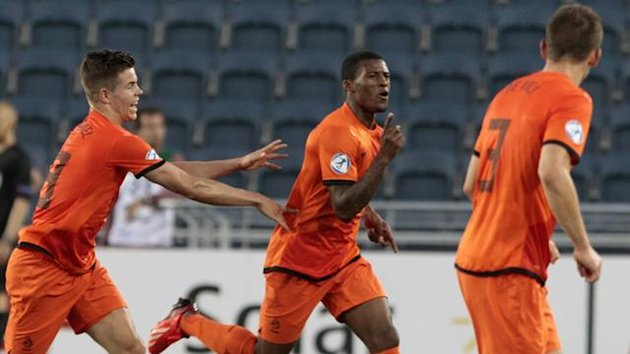 Georginio Wijnaldum of the Netherlands (C) celebrates his goal against Russia during their UEFA European Under-21 Championship soccer match at the Teddy Kollek stadium in Jerusalem (Reuters)