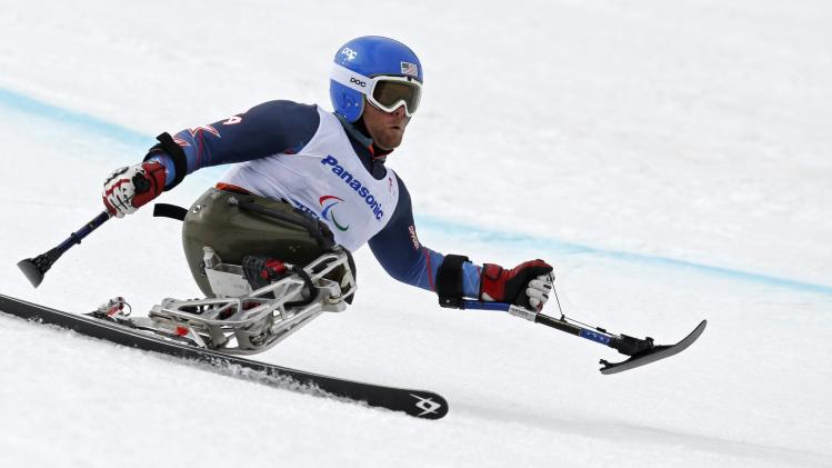 Tyler Walker of the U.S. skis during the men's sitting skiing downhill at the 2014 Sochi Paralympic Winter Games at the Rosa Khutor Alpine Center