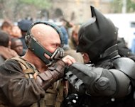 Tom Hardy and Christian Bale in 'The Dark Knight Rises' -- Warner Bros.