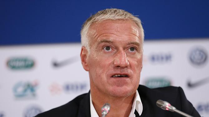 France coach Didier Deschamps speaks during a press conference in Paris on August 28, 2014