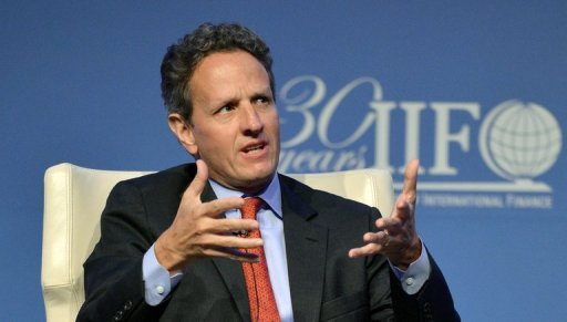 <p>US Treasury Secretary Timothy Geithner speaks during an interview session of the IIF (Institute of International Finance) 30th Anniversary Membership Meeting in Tokyo, on October 11. Geithner said on Saturday the global economy was on the mend, but more needed to be done to stoke domestic demand in China and fix Europe's fiscal woes.</p>