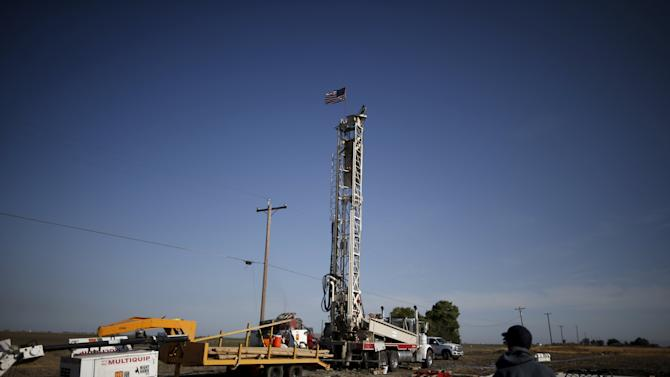 A well drilling 250 feet into the aquifer beneath is seen in Los Banos