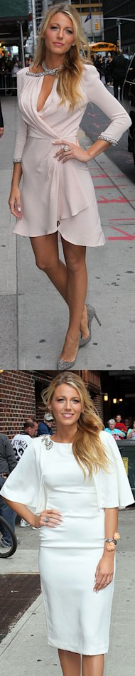 Blake Lively does designer double in Jenny Packham and Marchesa for David Letterman