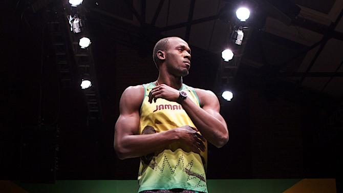 Jamaican sprinter Usain Bolt poses for p
