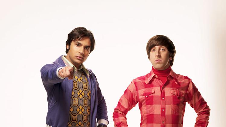 "Kunal Nayyar as Koothrappali and Simon Helberg as Wolowitz in ""The Big Bang Theory."""