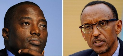 A combination of two recent pictures shows Joseph Kabila (left), president of the Democratic Republic of Congo, and Paul Kagame, president of Rwanda. Democratic Republic of Congo's President Joseph Kabila and his Rwandan rival Paul Kagame have met for face-to-face meetings over conflict in eastern Congo, Ugandan officials said Wednesday.