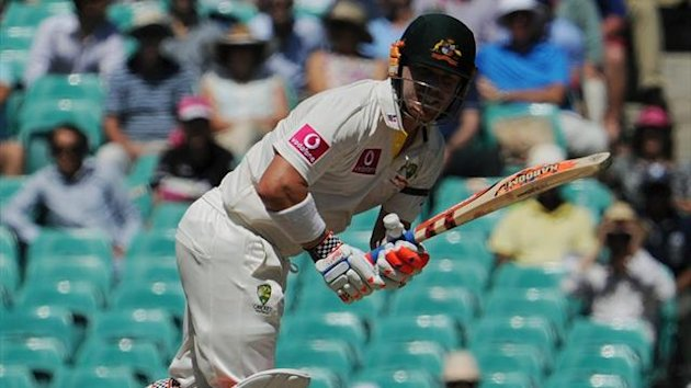 Australian batsman David Warner plays a shot on day two of the third Test against Sri Lanka at the SCG (AFP)