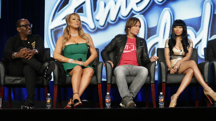 "Randy Jackson, Mariah Carey, Keith Urban and Nicki Minaj from ""American Idol"" attend the Fox Winter TCA Tour at the Langham Huntington Hotel on Tuesday, Jan. 8, 2013, in Pasadena, Calif. (Photo by Todd Williamson/Invision/AP)"