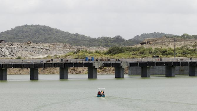 A boat with members of the media is seen during a visit to the new set of locks of the Panama Canal Expansion Project on the Pacific side of the Panama Canal, on the outskirts of Panama City