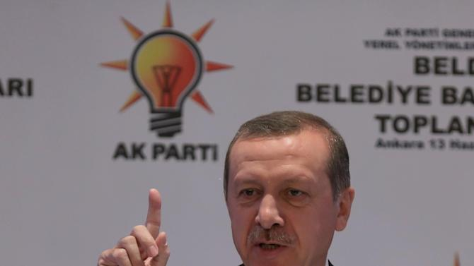 Turkish Prime Minister Recep Tayyip Erdogan addresses the mayors from his ruling Justice and Development Party in Ankara, Turkey, Thursday, June 13, 2013.(AP Photo)