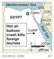 Map locates Luxor, Egypt, where a hot air balloon crash killed foreign tourists