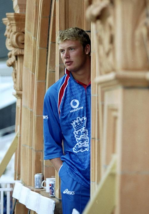 14 May 1999:  Andrew Flintoff of England watches the action during the opening Cricket World Cup Group A match between England and Sri Lanka played at Lords in London, England. England won the game by