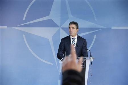 NATO Secretary-General Anders Fogh Rasmussen holds a news briefing at the NATO headquarters in Brussels February 21, 2013. REUTERS/Chip Somodevilla/Pool
