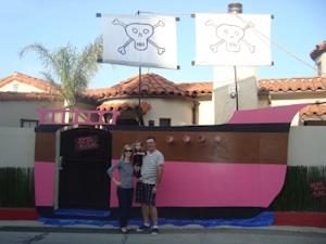 Birthday girl Harlow & her parents at her Posh Pirate Party -- Access Hollywood