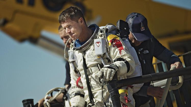 This photo provided by Red Bull Stratos shows pilot Felix Baumgartner of Austria reacting after his mission was aborted in Roswell, N.M., Tuesday, Oct. 9, 2012. For the second straight day, extreme athlete Felix Baumgartner aborted his planned death-defying 23-mile free fall because of the weather, postponing his quest to become the world's first supersonic skydiver until at least Thursday. (AP Photo/Red Bull Stratos, Joerg Mitter)
