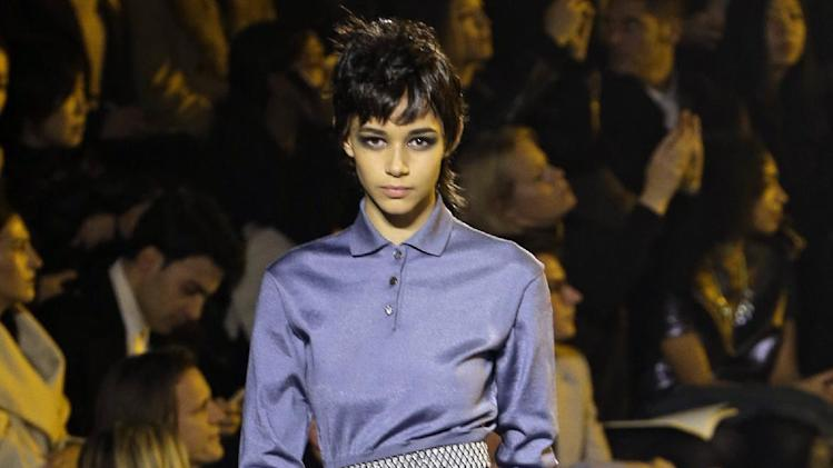 A model is shown during the Marc Jacobs Fall 2013 fashion show at Fashion Week in New York, Thursday, Feb. 14, 2013.  (AP Photo/Kathy Willens)