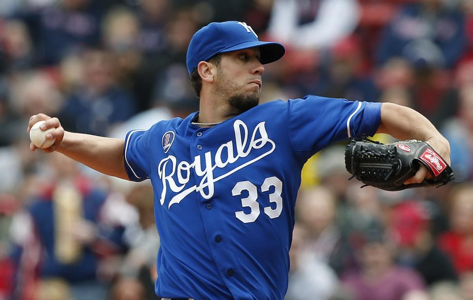 Kansas City Royals' James Shields pitches in the first inning of a baseball game against the Boston Red Sox in Boston, Saturday, April 20, 2013. (AP Photo/Michael Dwyer)