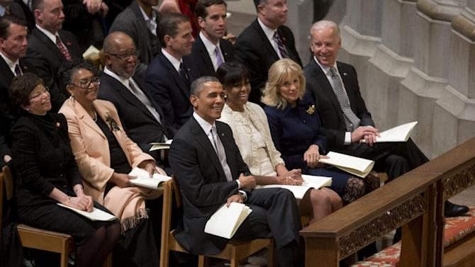 President Barack Obama, first lady Michelle Obama, Vice President Joe Biden and his wife Jill Biden attend the Presidential Inaugural Prayer Service at the Washington National Cathedral in Washington, Tuesday, Jan. 22, 2013. The 106-year-old Episcopal church has long hosted presidential inaugural services., this one following Monday's 57th Presidential Inauguration.  (AP Photo/Carolyn Kaster)