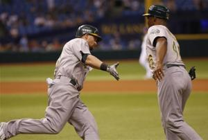 Gomes homers in 12th inning, A's beat Rays 4-3
