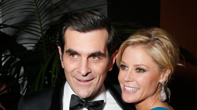 Actors Ty Burrell, left, and Julie Bowen attend the Fox Golden Globes Party on Sunday, January 13, 2013, in Beverly Hills, Calif. (Photo by Todd Williamson/Invision for Fox Searchlight/AP Images)