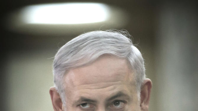 Israeli Prime Minister Benjamin Netanyahu gestures during a joint press statement with Romanian counterpart Emil Boc, not in picture, at the Victoria Palace, the Romanian government headquarters in Bucharest, Romania, Wednesday, July 6, 2011. (AP Photo/Vadim Ghirda)