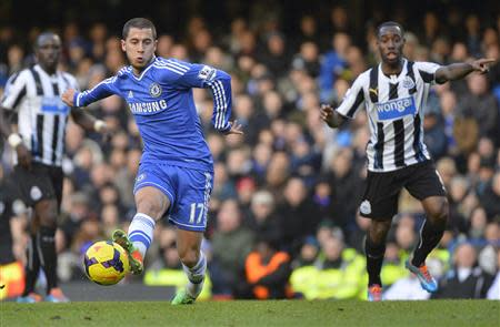 Chelsea's Hazard passes the ball in the build up play to his first goal against Newcastle United during their English Premier League soccer match in London