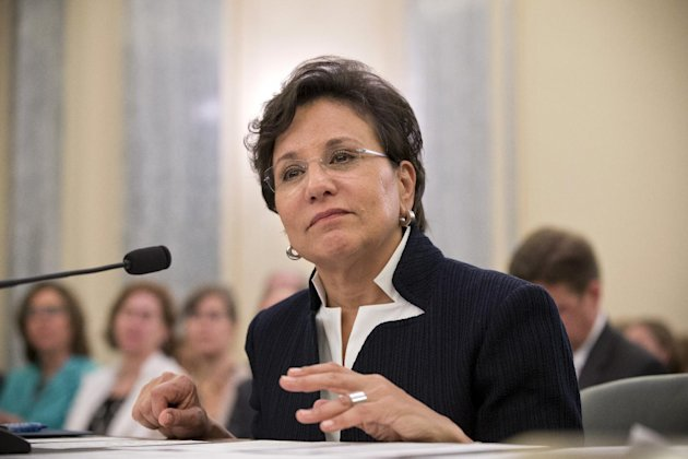 Chicago billionaire business executive Penny Pritzker, President Obama's pick for Commerce Secretary, testifies on Capitol Hill in Washington, Thursday, May 23, 2013, before the Senate Commerce Commit