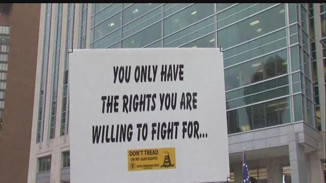 Gun rights supporters rally downtown outside Indiana Statehouse
