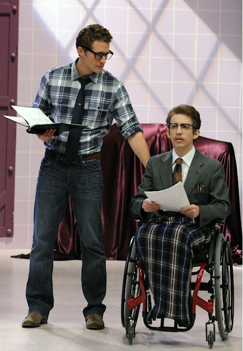 "Will (Matthew Morrison) rehearses with Artie (Kevin McHale) for ""The Rocky Horror Glee Show"" episode of ""Glee."""